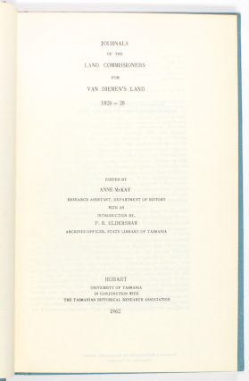 Journals of the Land Commissioners for Van Diemen's Land, 1826-28. With an Introduction by P.R....