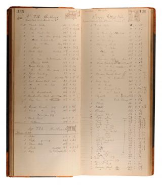 A cabinet maker's manuscript specifications book, written in ink on 167 pages of a vintage cash...