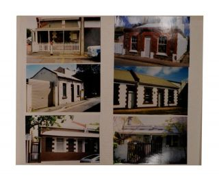 Five large vinyl-covered photograph albums (each approximately 400 x 330 x 70 mm) containing approximately 2400 colour photographs of buildings in Adelaide (city and suburbs) and nearby country towns. Adelaide and Environs.