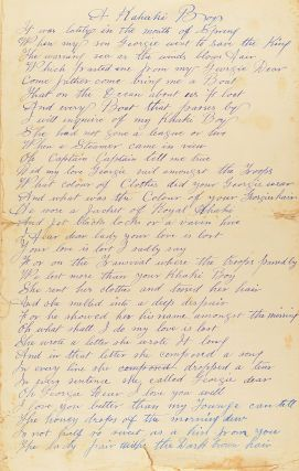 The Battle of Hartebeestfontein Poort; The Music of a Shell. Lilly Fontein [sic] 5/2/1901; and A Kahaki [sic] Boy. Three stirring patriotic Boer War poems by 976 Private John Matthew Clark, NSW Imperial Bushmen