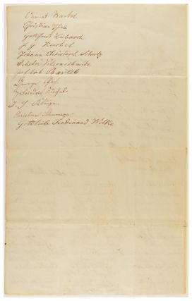 A manuscript petition signed by 54 'householders and members of the German Lutheran Congregations of Klemzig and Hahndorf' on 26 May 1842, seeking to have Pastor Kavel licensed as an Officiating Minister under a new 'Act for Regulating Marriages in the Province of South Australia'